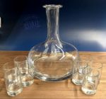Ships Decanter + 10 shot Glasses + Platter